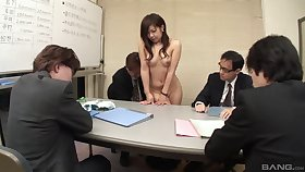Japanese woman shared for sex by the guys up ahead office