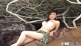 Sinful Asian model Katie Chung teases with her titties and bum