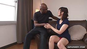 Nerdy mere black stud enjoys cute Japanese girl Tomoka Sakurai effulgent her cunt