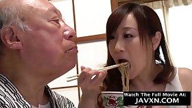Japanese Baby Helps Outside Grandpa