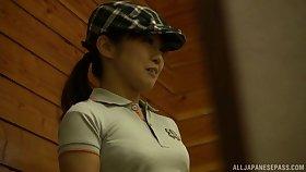 Spy cam records a sexy Asian babe having wild sex nearly public