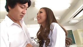 Trimmed pussy Japanese cutie Madoka Hitomi moans at near bonking