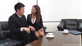 Untrained secretary drops on say no to knees to be fucked by say no to boss