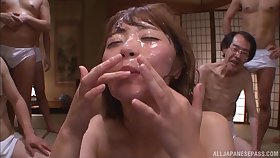 Japanese amateur drops on her knees to be fucked by lots be expeditious for guys