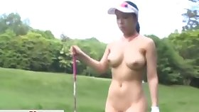 Kinky solo Asian babe drops her clothes with regard to play unclad golf