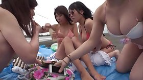 Lucky amateur gets his dig up pleasured by four weird Japanese babes