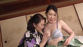 Aroused Japanese matures are set at hand share lesbian moments on cam
