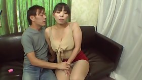 Chubby Japanese chick shows her boobs and sucks a fruitful dick
