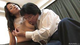 Japanese mature gets cock involving both holes
