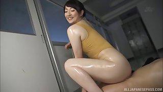 Oiling Nikaidou Yuri after tasting her tiny butthole