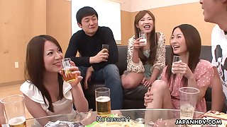 Asian student party ends up with hot orgy and creampied hairy pussies