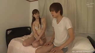 alluring brunette asian Aine Maria is put emphasize real versed of a blowjob