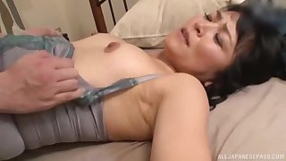 Asian MILF brunette missionary fucked hardcore before riding cock