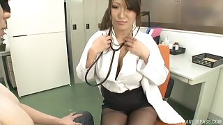 Big tits Asian model giving long dick stunning blowjob
