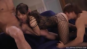 Hot Japanese factory magic with her mouth plus pussy
