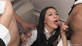 Asian in sexy uniform, nice tryout at be passed on office